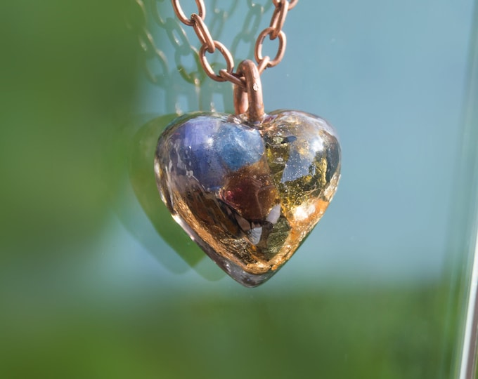 Orgonite® Pendant with Moldavite, Tanzanite, Sapphire - Orgone Necklace - 528hz Solfeggio - Attuned Reiki Infused