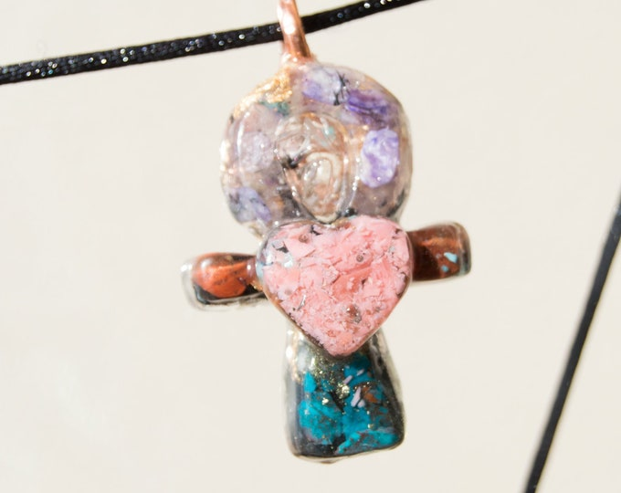 Orgonite® Ankh Pendant with Pink Opal, Chariote, Chrysocolla, Elite Shungite  - Orgone Necklace 528hz /  EMF Protection