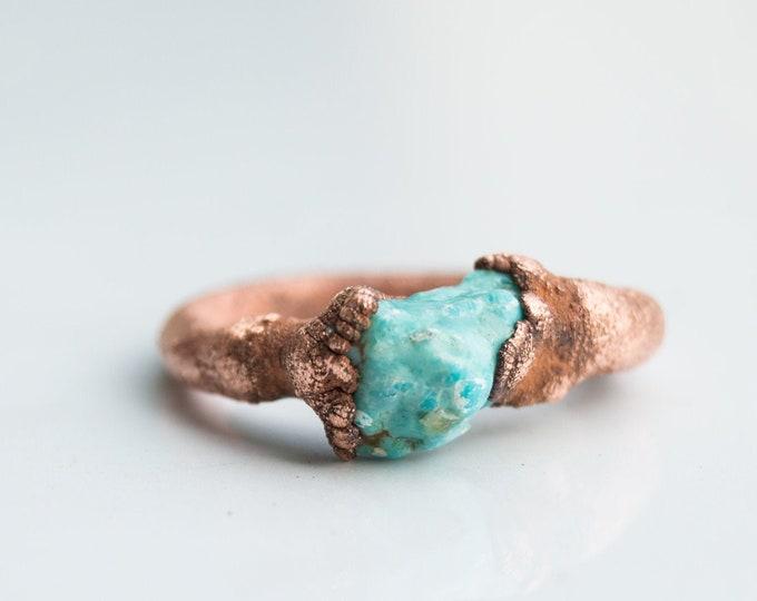 Sleeping Beauty Turquoise Ring size 6 Pure Copper Electroform Rare Arizona Turquoise - Handmade artisan jewelry