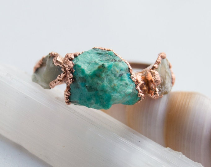 Chrysocolla and Raw Fire Opal Copper Electroform ring size 8 - Handmade artisan jewelry October Birthday