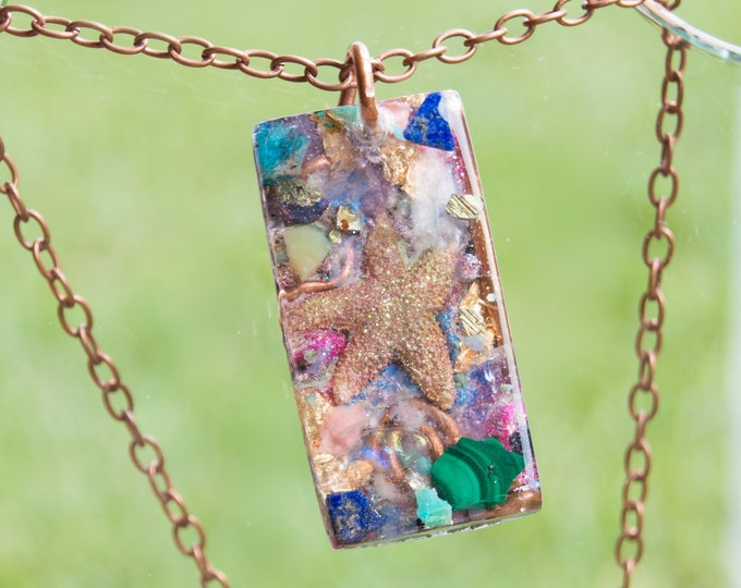 Orgonite® Pendant with Rainbow Moonstone, Healerite, Malachite - Orgone Necklace - 528hz - Reiki Infused