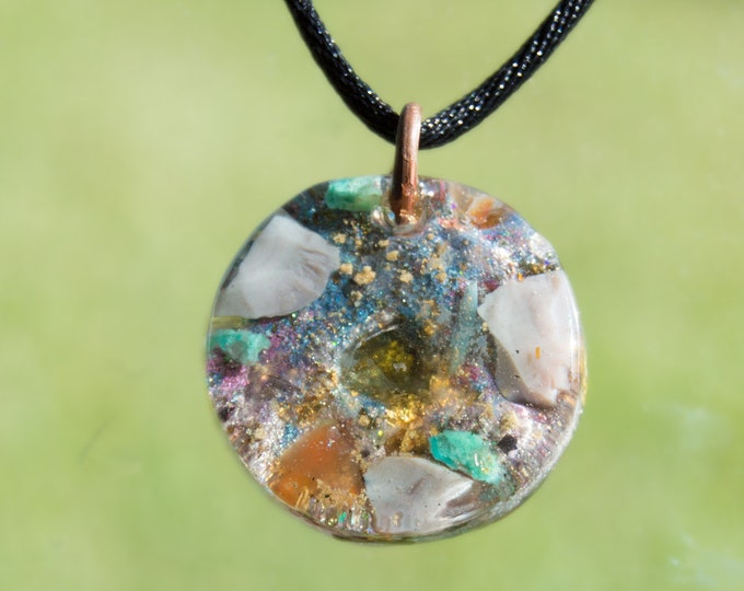Orgonite® Moldavite, Fire Opal, Botswana Agate Pendant Necklace  - Orgone Necklace - EMF shield