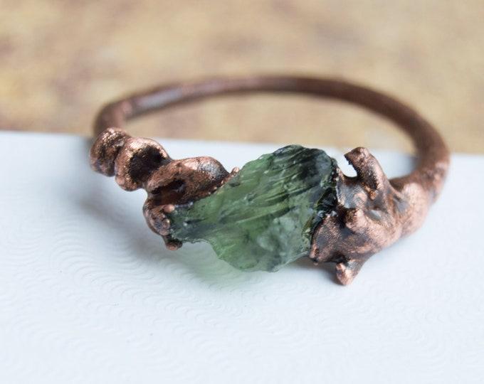 Genuine Moldavite and Pure Copper Ring size 10.75 - Tektite Meteor jewelry size 10.75