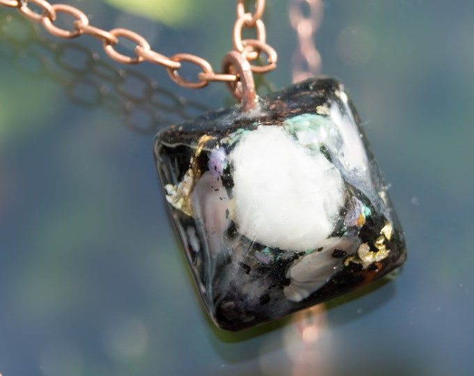 Orgonite® Moonstone Pendant with Charoite, Elite Shungite - Orgone Necklace - 528hz /  EMF Protection