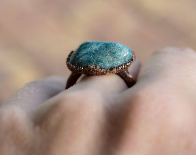 Apatite and pure Copper ring - solid copper electroform size 8.25