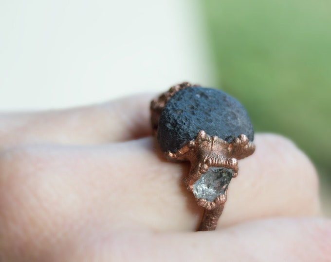 13ct Cintamani Ring with Herkimer Diamond - Large Pure Copper Electroform size 9 - Handmade artisan jewelry Saffordite AAA Chintamani