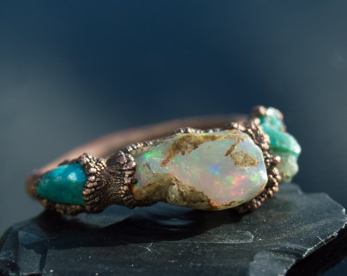 Fire Opal and Sleeping Beauty Turquoise Ring size 7.75 Pure Copper Electroform Arizona Turquoise - Handmade artisan jewelry