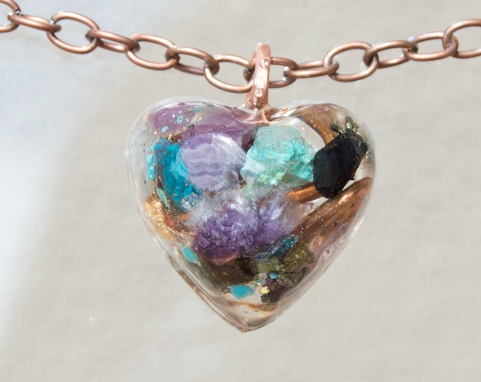 Orgonite® Pendant with Tektite, Ruby, Turquoise, Amethyst - 528hz  attuned - EMF shield Reiki Infused Orgone Necklace