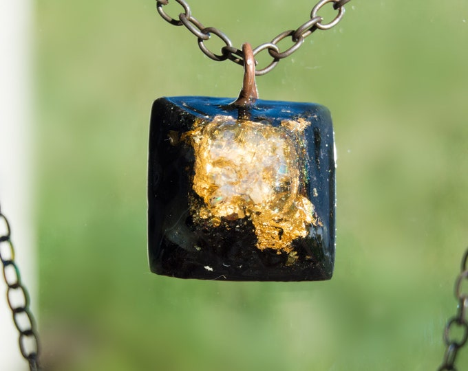 Orgonite® Fire Opal Pendant with Elite Shungite, Herkimer Diamond Orgone Necklace - 528hz /  EMF Protection