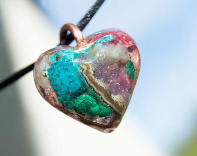 Orgonite® Pendant with Uruguay Amethyst, Malachite, Chrysocolla - 528hz  attuned - EMF shield Reiki Infused Orgone Necklace