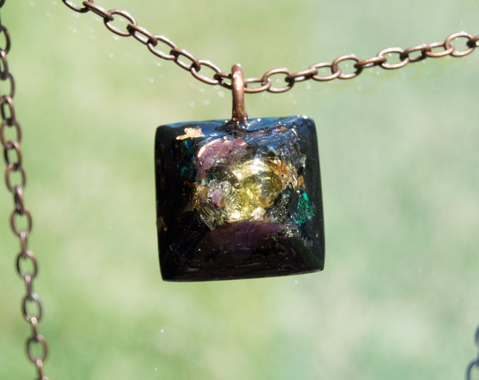 Orgonite® Moldavite Pendant with Ruby, Azurite, Elite Shungite, Tourmaline - EMF Harmonizing Orgone Necklace - 528hz Solfeggio