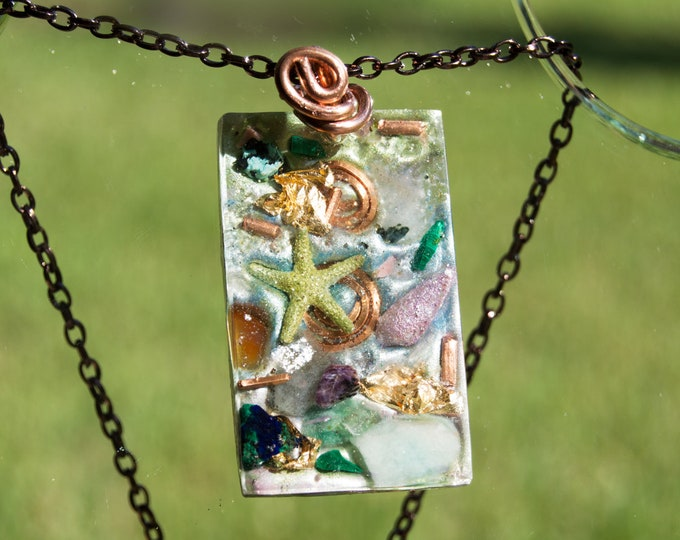 "Large Orgonite® Pendant  ""Star Born Unicorn"" - Natural Sacred Geometry - Glow in the dark Star Orgone Necklace - 528hz Solfeggio"