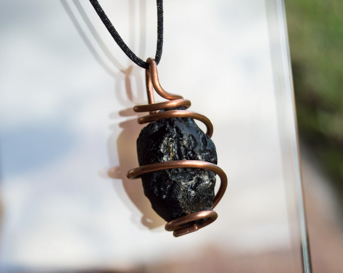 Large Black Tibetan Tektite Pendant with Copper Spiral - Raw stones - Genuine extraterrestrial / meteor Necklace