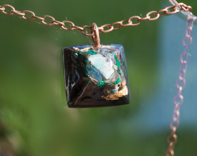 Orgonite® Rainbow Moonstone and Amazonite Pendant with Axinite, Bismuth  - Orgone Necklace - EMF shield