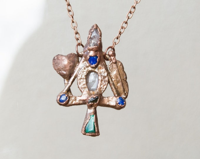 Ankh and Raw crystal and Electroform Pendant - Orgone Necklace