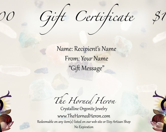 The Horned Heron Shop Gift Certificates - Multiple Options