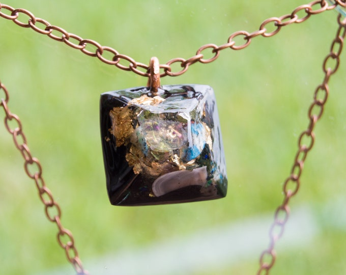 Orgonite® Rainbow Moonstone Pendant with Elite Shungite, Moldavite - Orgone Necklace - 528hz /  EMF Protection
