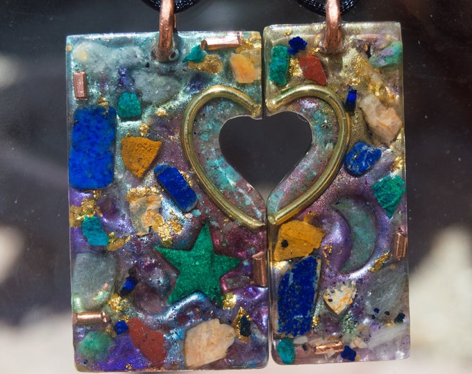 Orgonite® Magnetic Necklace Set - Best friend, Soul Mates, Twin Soul Companion Orgone Necklaces - 528hz  - Crystal Artisan Jewelry