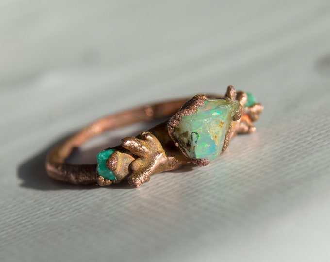 Fire Opal and Chrysocolla Tree Branch Ring Size 9 Pure Solid Copper Electroform - Handmade artisan jewelry