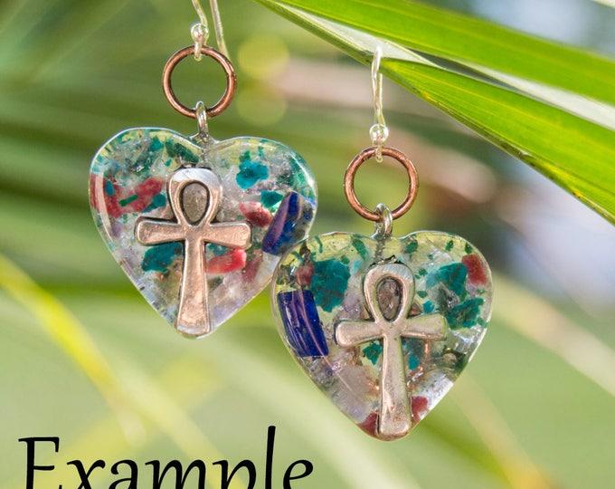 Custom Orgonite® Earrings as matching pendant set ~Orgone Earrings - EMF Protection - Reiki infused Artisan Jewelry / attuned  528hz
