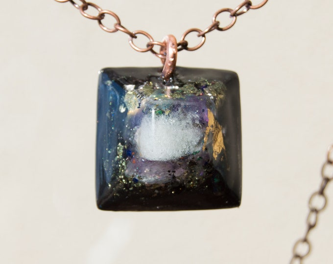 Orgonite® Great Sand Sea Glass Pendant with Bismuth, Amethyst, Elite Shungite - Orgone Necklace - EMF shield