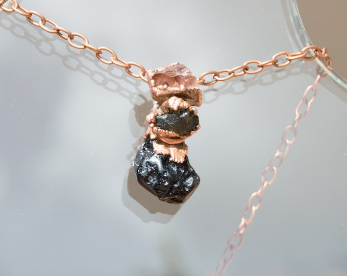 Moldavite Pendant with Black Tektite and Quartz - Pure Copper Electroforming - Tektite Necklace