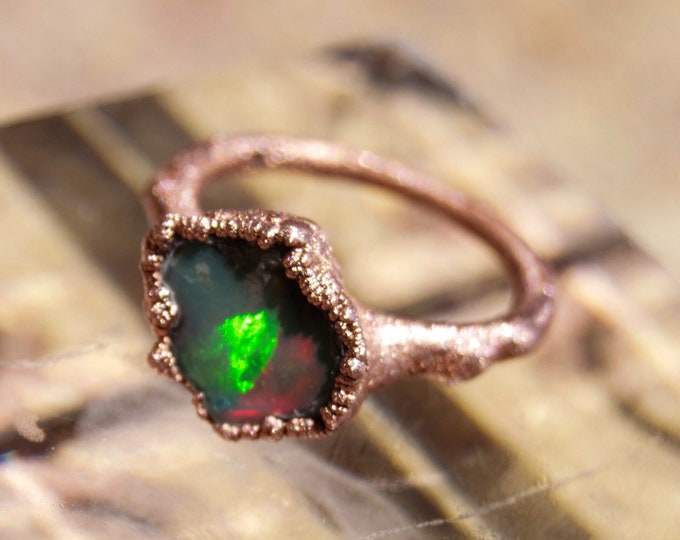 Raw Ethipoian Fire Opal Copper Electroform ring size 5 - Handmade artisan jewelry October Birthday