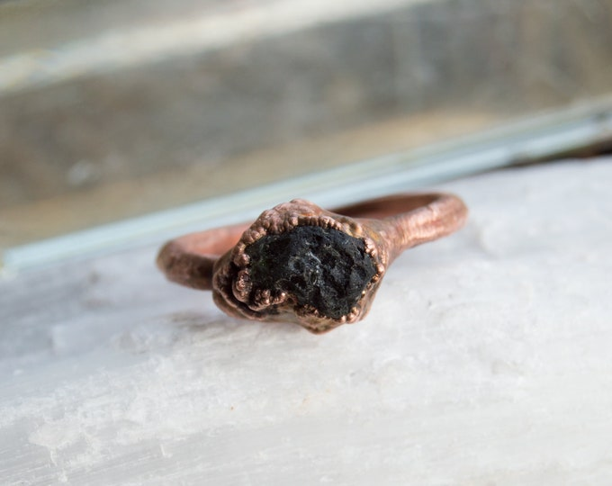 Raw Moldavite and Copper ring - solid copper electroform size 6.5