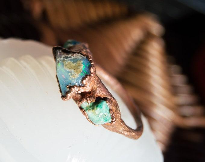 Large Citrine & Moldavite ring Pure, Solid Copper - electroform size 7.5