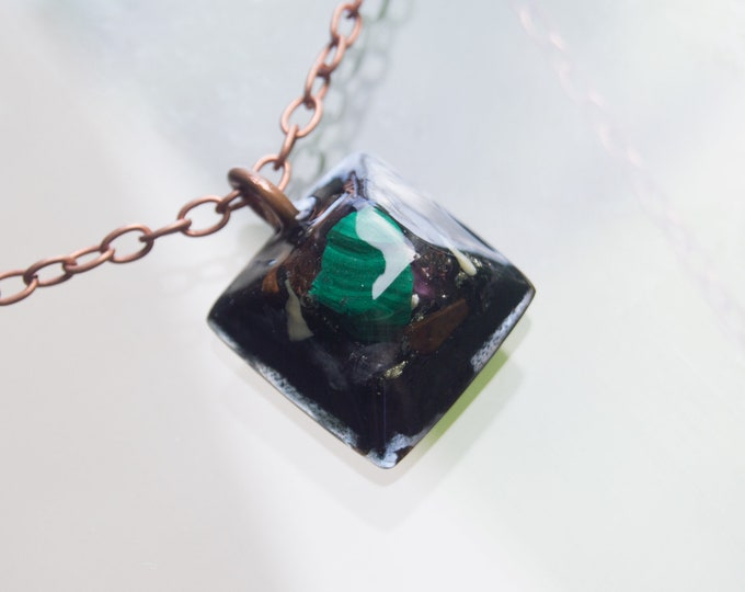 Orgonite® Malachite Pendant with Axinite, Serpentine  - Orgone Necklace - EMF shield