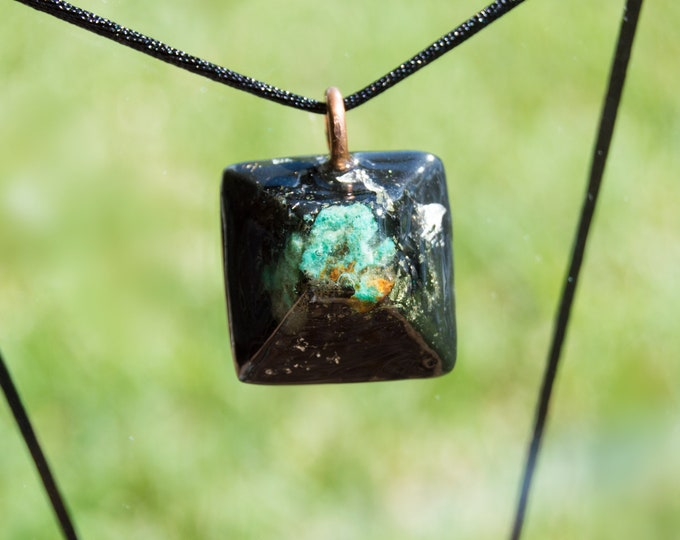 Orgonite® Chrysocolla Pendant with Elite Shungite, Quartz - Orgone Necklace - 528hz /  EMF Protection