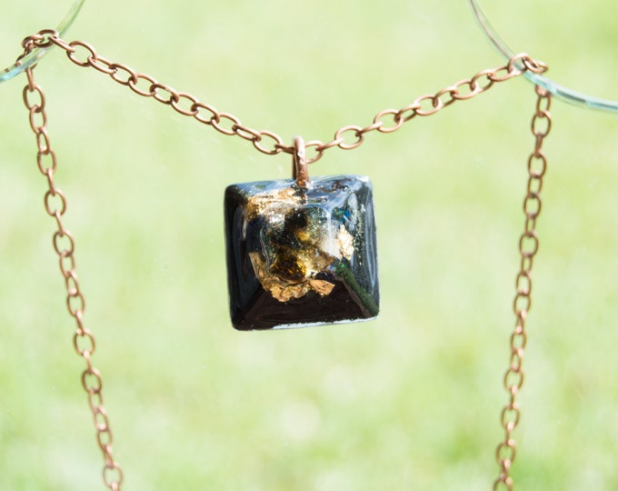 Orgonite® Moldavite Triple Tektite Pendant - Tibetan Tektite, Libyan Desert Glass  - Orgone Necklace - EMF Sheild - 528hz Solfeggio