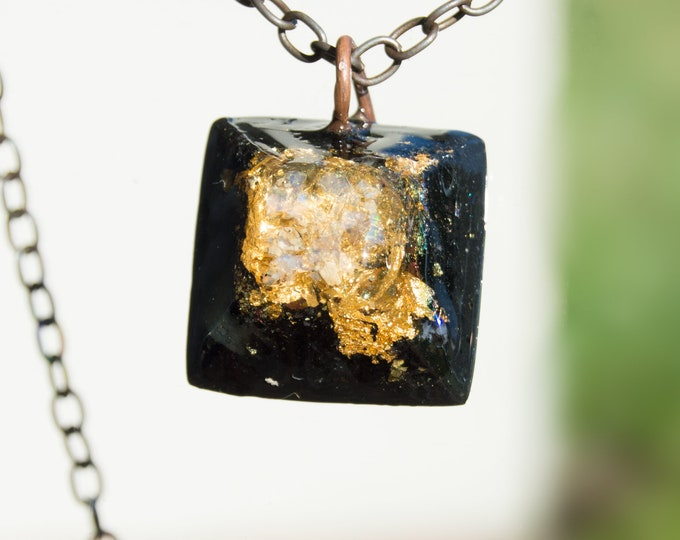 Orgonite® Fire Opal Pendant with Elite Shungite, Herkimer Diamond Orgone Necklace - 528hz /  EMF Protection