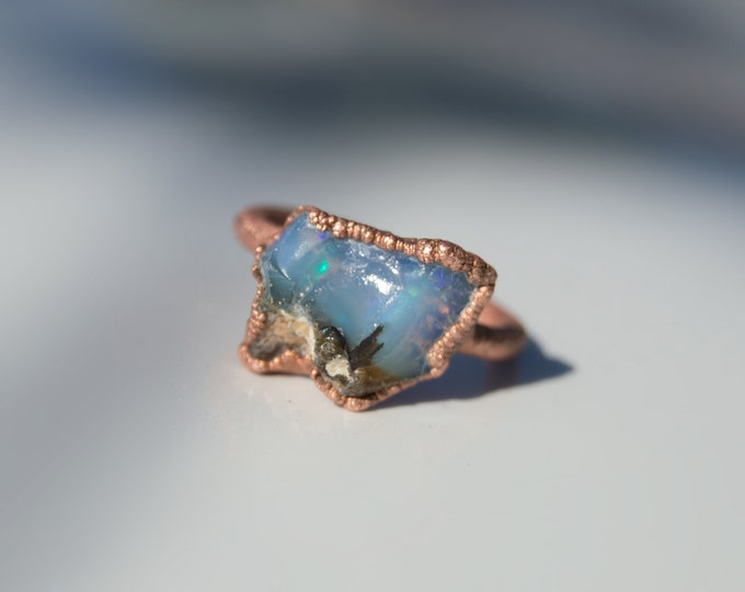 Raw Blue Ray Etheopian Fire Opal with Pure Copper Electroform ring size 8.25 - Handmade artisan jewelry Healing stones