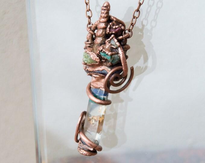 Orgonite® Unicorn Rainbow Chakra Pendant with solid copper electroform - Azurite, Jade, Amethyst - Orgone Necklace Attuned to Solfeggio