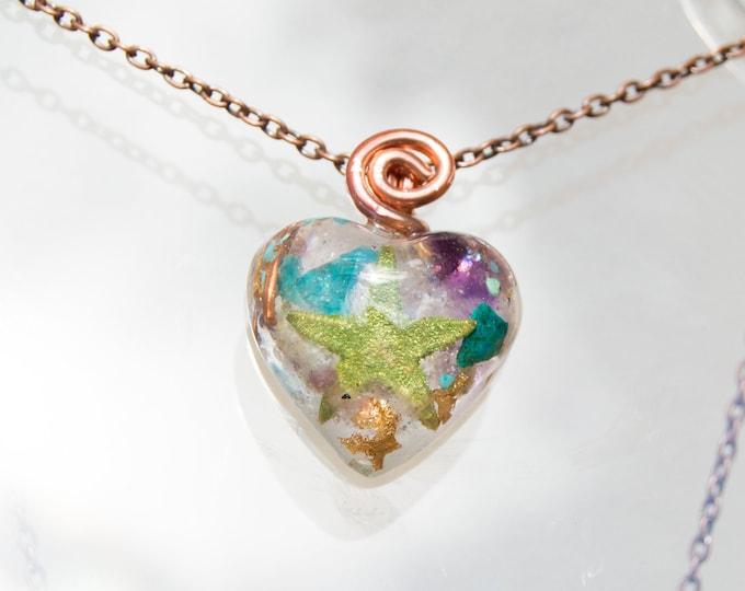 Orgonite® Pendant with Arizona Turquoise, Amethyst - Orgone Necklace 528hz /  EMF Protection