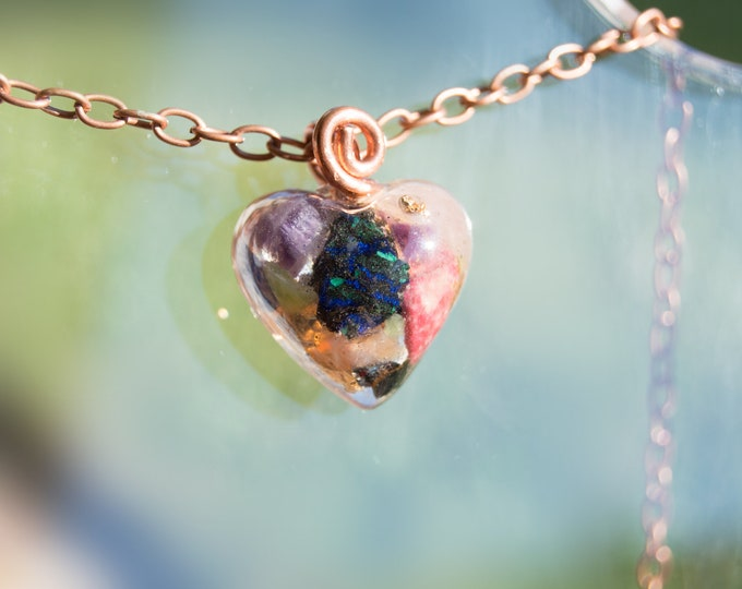 Orgonite® Pendant with Azurite, Amethyst, Rose Quartz - Orgone Necklace- Attuned 528hz - Reiki Infused EMF Crystals