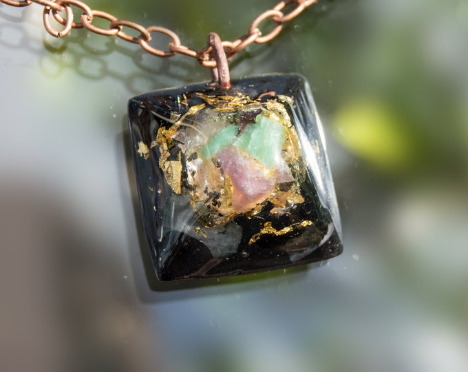 Orgonite® Emerald and Ruby Pendant with Elite Shungite, Tourmaline - EMF Harmonizing Orgone Necklace - 528hz Solfeggio