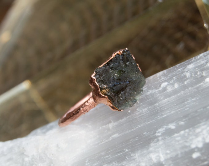 Raw Moldavite and Copper ring - tektite electroform size 7 - Genuine Czech Rebublic Moldavite