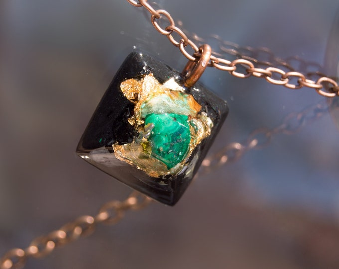 Orgonite® Malachite Pendant with Elite Shungite, Quartz - Orgone Necklace - 528hz /  EMF Protection