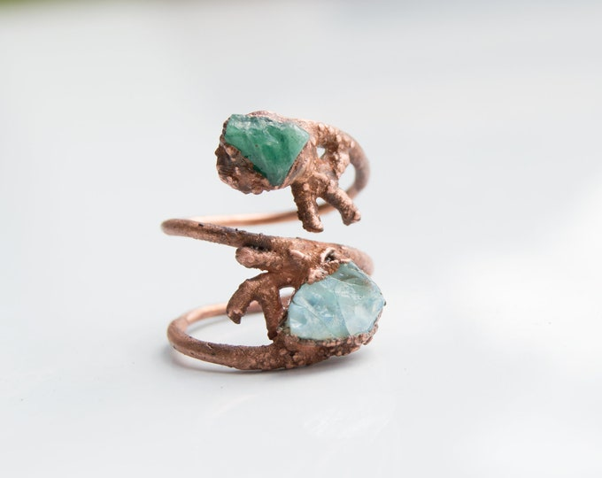 Raw Fire Opal and Emerald ring size 9 1/2 Copper Electroform - Handmade artisan jewelry October May Birthday