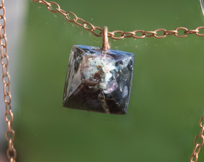 Orgonite® Amazonite & Sapphire Pendant with Elite Shungite - Orgone Necklace - Reiki Infused - 528hz Attuned