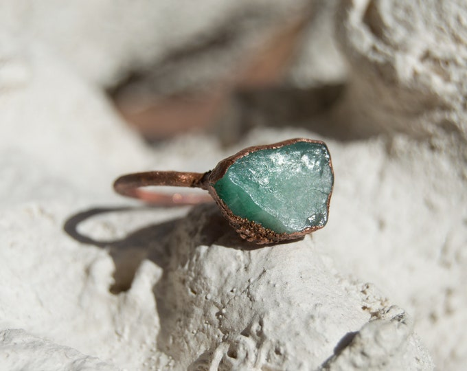 Raw Emerald and Copper ring - solid copper electroform size 10.5
