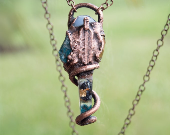 Orgonite® Pendant with solid copper electroform - Rainforest Jasper, Angelite, Apatite - Orgone Necklace Attuned to Solfeggio