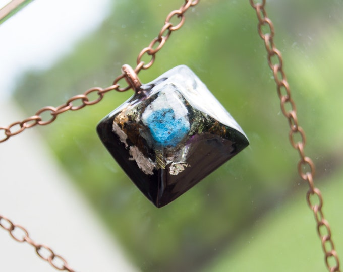 Orgonite® K2 Mount Chogori Pendant with Herkimer Diamond, Axinite, Elite Shungite, Quartz - Orgone Necklace - 528hz /  EMF Protection