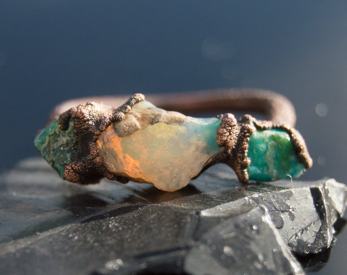 Fire Opal and Sleeping Beauty Turquoise Ring size 8.75 Pure Copper Electroform Arizona Turquoise - Handmade artisan jewelry