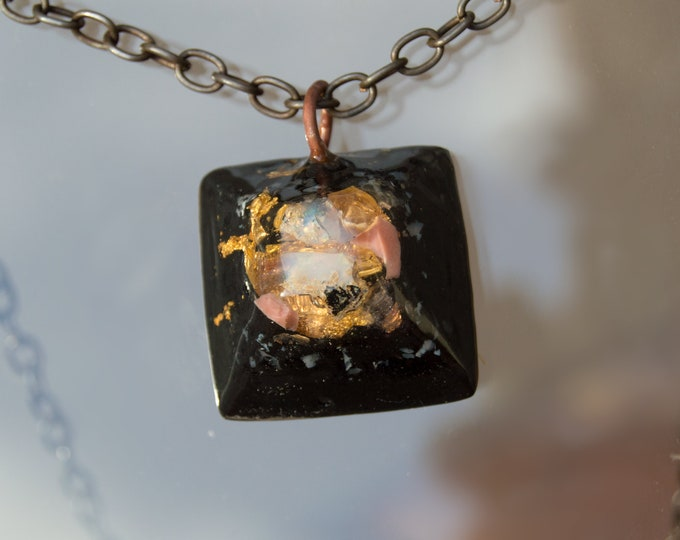 Orgonite® Fire Opal Pendant with Elite Shungite, Pink Opal - Orgone Necklace - 528hz /  EMF Protection