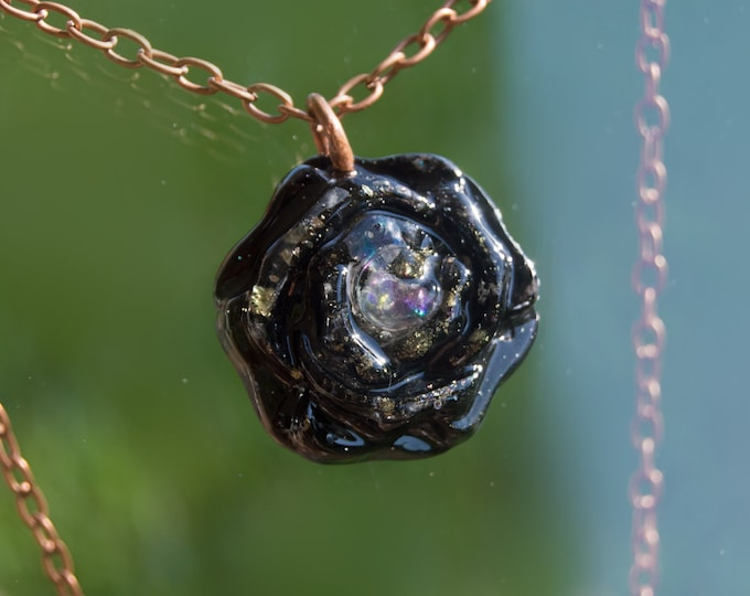 "Orgonite® Rainbow Moonstone Pendant ""Rose of Bastet"" with Herkimer Diamond, Bismuth, Elite shungite - Orgone Necklace -  EMF Protection"