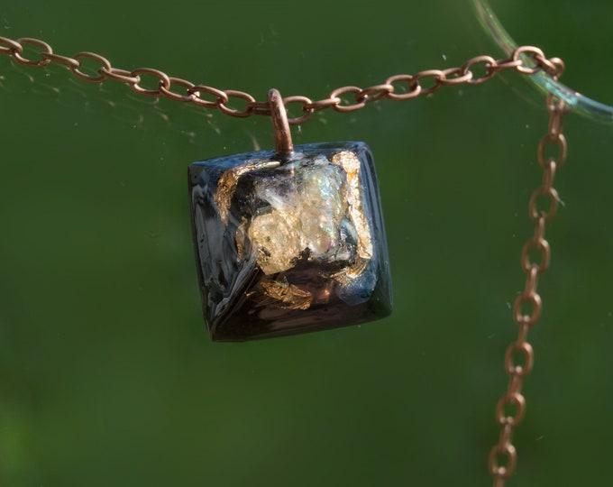 Orgonite® Rainbow Moonstone Pendant - Sapphire, K2 Mount Chogori  - Orgone Necklace - EMF Sheild - 528hz Solfeggio