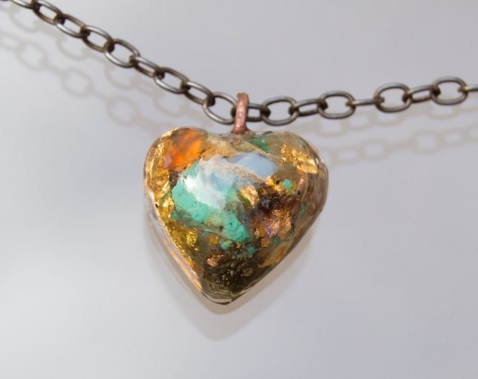 Orgonite® Fire Opal Pendant with Moldavite  - Orgone Necklace - 528hz Solfeggio - Attuned Reiki Infused